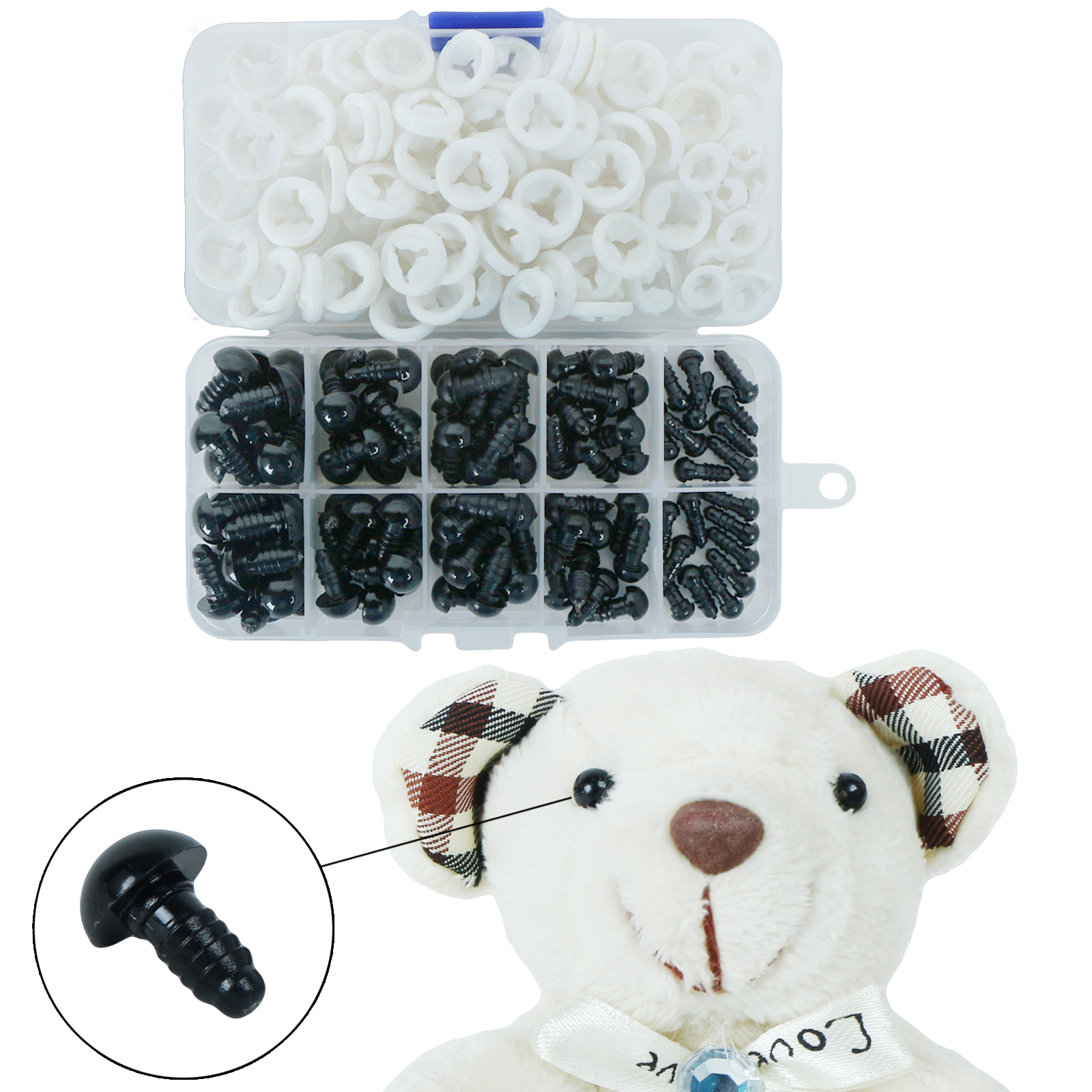 100pcs 6-12mm Black Plastic Crafts Doll Safety Eyes Bear For Plush Toys Stuffed Toys Doll Amigurumi Puppet DIY Accessories
