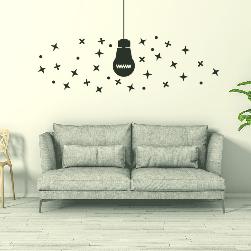 Hanging Lamp Wall Sticker: Simple Style Light Bulb Hanging Lamp Children's Room