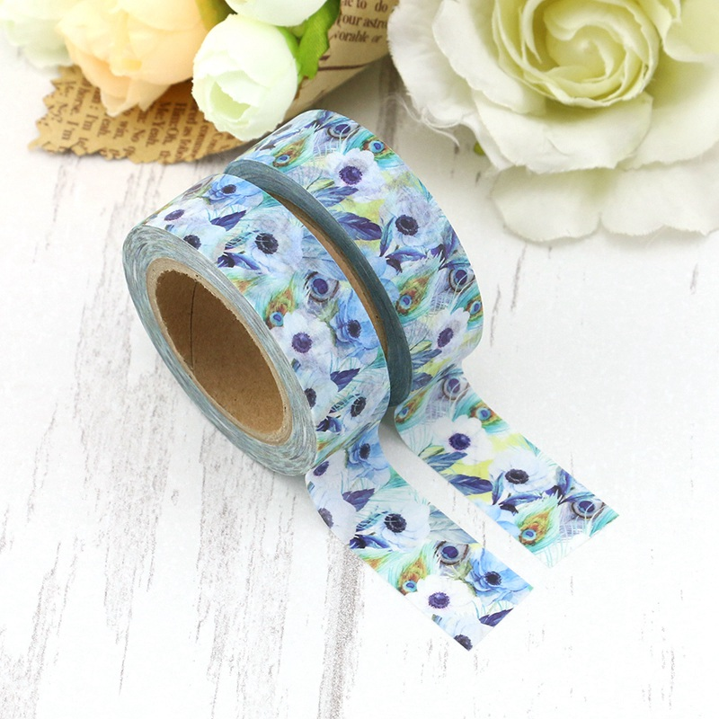 2PCS/lot Blue Peacock Feathers Decorative Washi Tape Paper For DIY Scrapbooking Adhesive Tapes 15mmx10m School Supply Wholesale