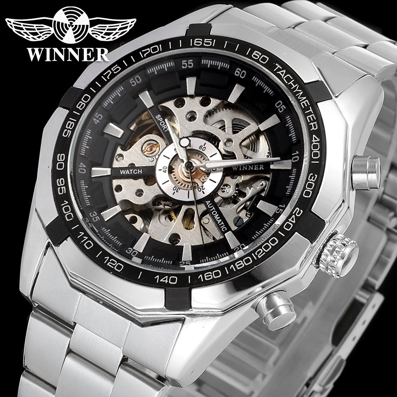 WINNER WRG8042M4T3 Automatic fashion dress wristwatch silver watch with stainless steel band for men hot selling free ship