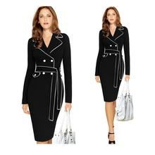Elegant solid color knee dress suit black pencil dress