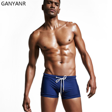 GANYANR Brand Mens Swimming Trunks Sunga Swimwear Swimsuit Bathing Suit Beach Shorts Boxer Racing Competition Nylon Sexy Gay