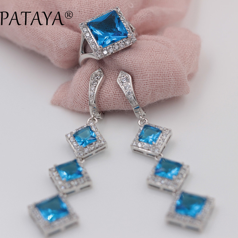 PATAYA Women Blue Square Natural Cubic Zirconia Jewelry Sets True White Gold Ring Earrings Fine Wedding Accessories Jewelry Sets
