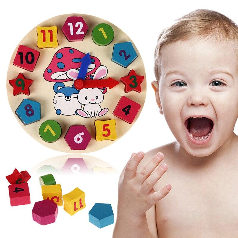 Colored 12 Number Colorful Digital Geometry Clock Wooden Blocks Baby Educational Bricks font b Toy b