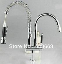 Новый бортике Латунь Кухня кран бассейна Раковина новый Chrome Поворотный 2 струй воды Спрей Одной ручкой смеситель S-799