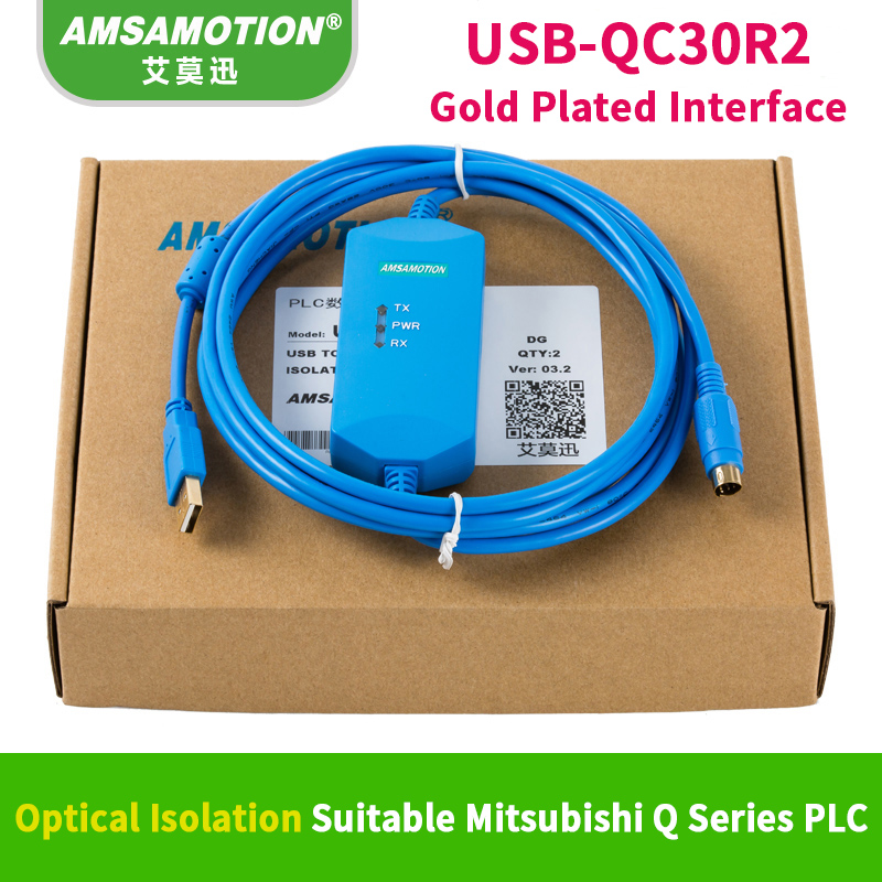 Suitable Mitsubishi Q Series Programming Cable Data Download Communication Cable USB-QC30R2 optical Isolation original plc download cable communication programming cable conversion serial port usb uc prg020 12a