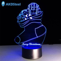 AKDSteel Creative Acrylic Colourful 3D LED Light Sock Shape Night Lamp Touch Switch Christmas Halloween Party