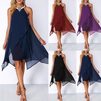 Plus Size Women Summer Round Neck Fashion Chiffon Sleeveless Dress Irregular Double Layer Beach Party sexy Loose Dresses 5