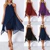 Plus Size Women Summer Round Neck Fashion Chiffon Sleeveless Dress Irregular Double Layer Beach Party sexy Loose Dresses 4