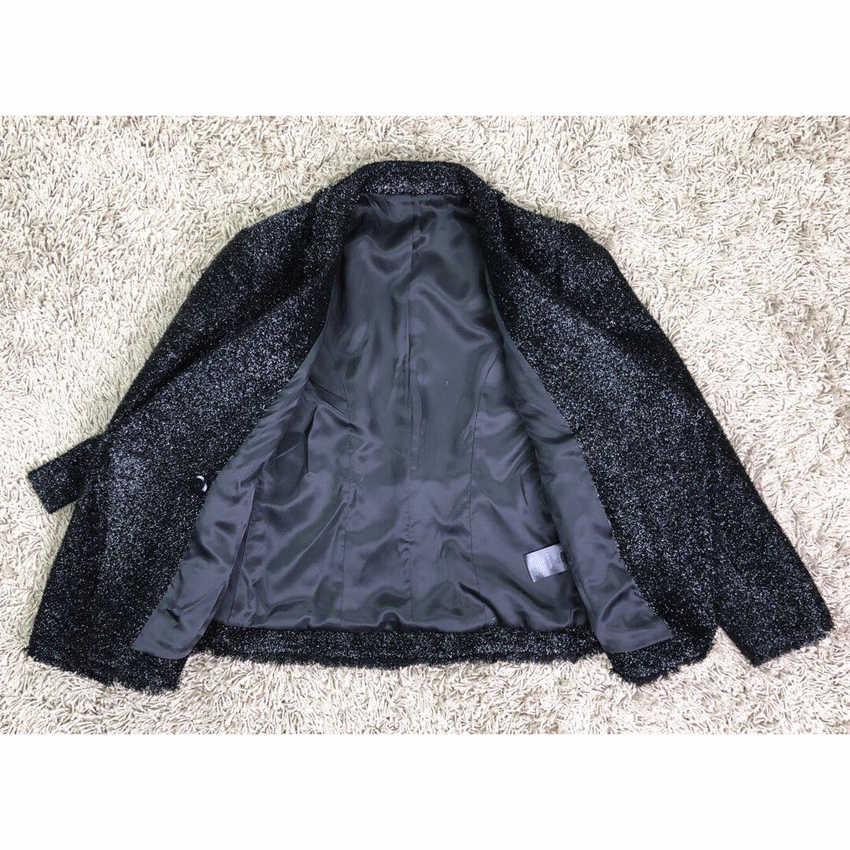 高品質新ファッション 2019 秋冬デザイナーブレザージャケット女性のシルバーグリッターひもベルトブレザーコート