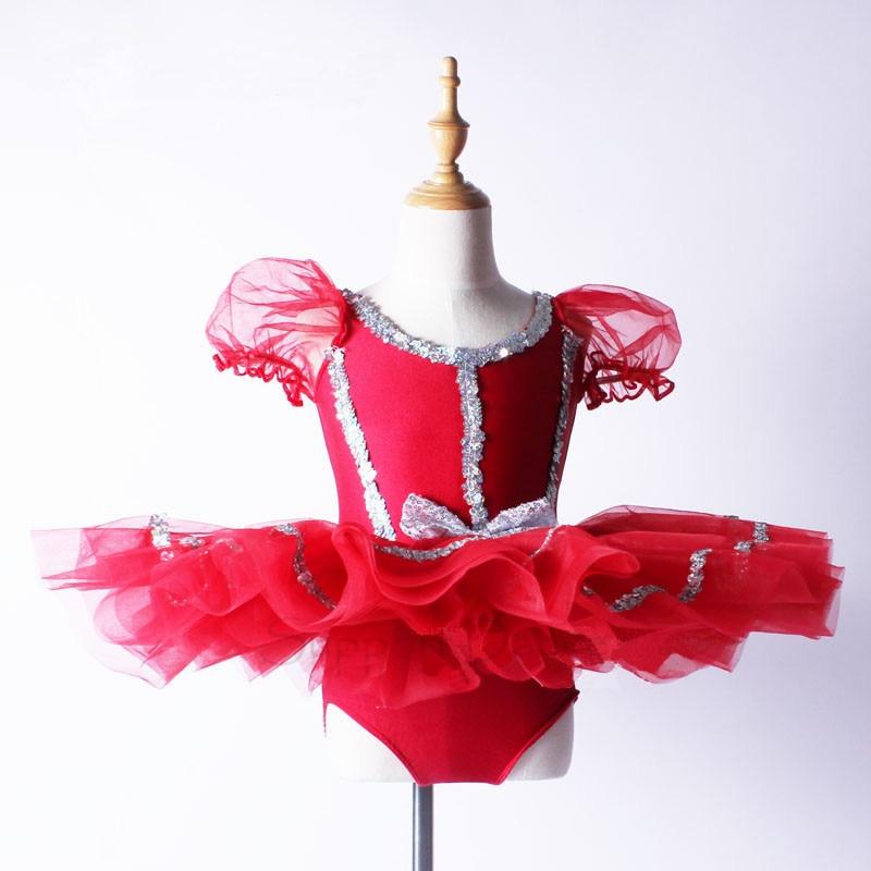 Support Dance Girls Red Puff Sleeve Sequined Professionell Ballett Tutu Klänning Kids Dance Costume C108