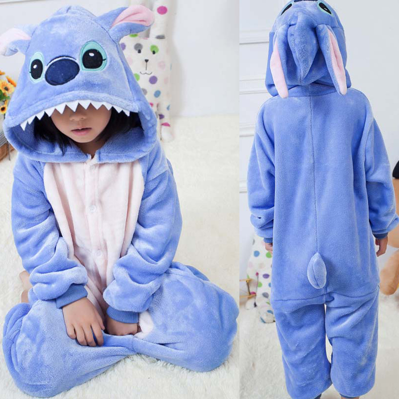 Adult Children Cosplay Costume Kigurumi Onesie Kids Winter Sleepers Family Matching Outfit Stitch Overalls Jumpsuit Soft Flannel