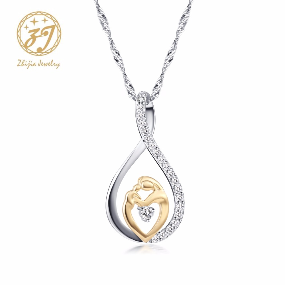 Pendant Necklaces Charm Zircon Pave Birthday Daughter Baby Family Love for Mom Zhijia