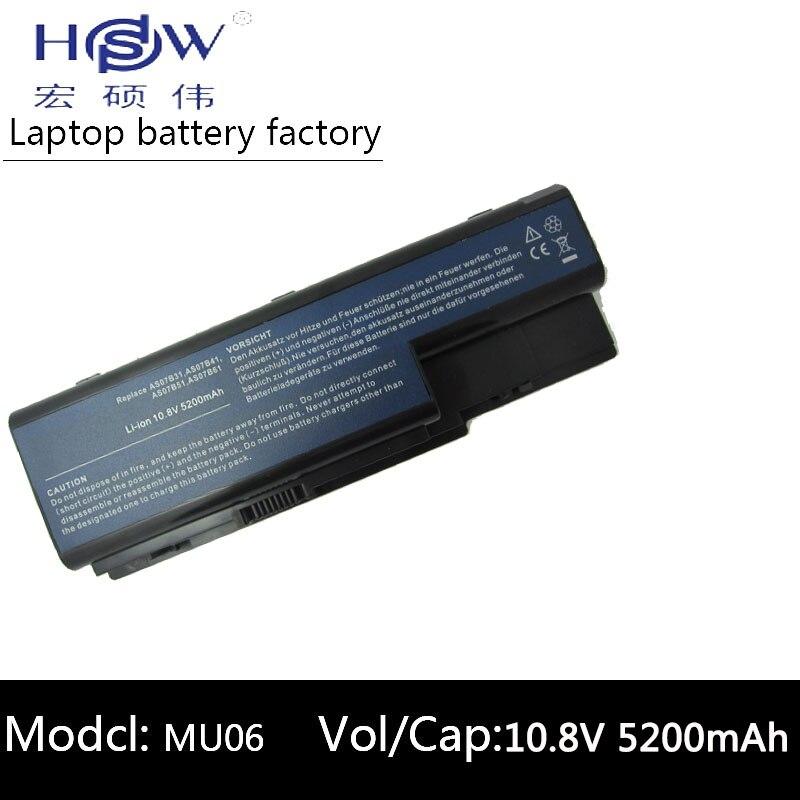 HSW 5200 MAH סוללה למחשב נייד עבור ACER Aspire 5910G 5920 5920G 5930 5930G 5935 5940 5940G 5942 5942G 6530 6530G 6920 סוללה
