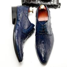 QYFCIOUFU 2019 Men Dress Shoes Formal Genuine Leather Shoes Brand Luxury Business Office Men's Flats Oxfords Crocodile Pattern
