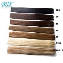 """Bhf прямые человеческие волосы Remy из натуральных волнистых волос для наращивания 1"""" до 24"""" Быстрая"""