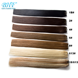 Trama de pelo humano Remy hecha a máquina recta BHF 100% extensiones de cabello Natural de 18 a 24 envío gratis rápido