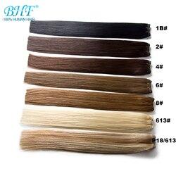 Trama recta de pelo humano BHF hecha a máquina Remy 100% extensiones de cabello Natural color degradado brasileño
