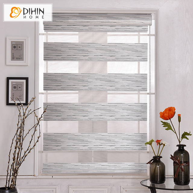 Dihin Home Modern Silver Color Blackout Curtains Double Layer Zebra Blinds Rollor Blind Easy Install Custom