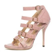 Hollow-Out Many Buckles Woman Sandals Party Thin High Heels Handmade Ankle-Wrap Open Toe Cover Heels Shoes Female Sexy Snakeskin