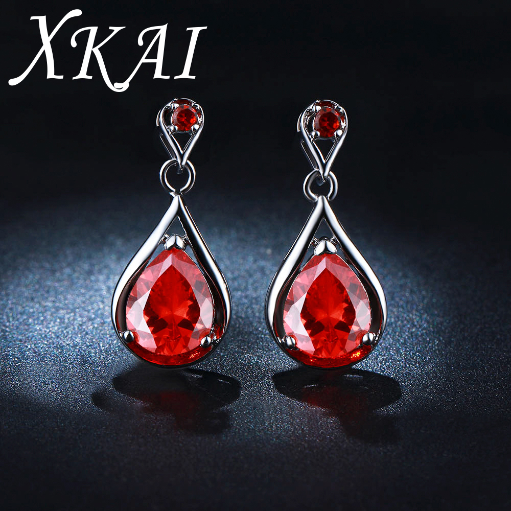 White Gold Color Earrings Big Red Gem Earrings For Women Wedding Earrings  Jewelry Aaa Cz Stone