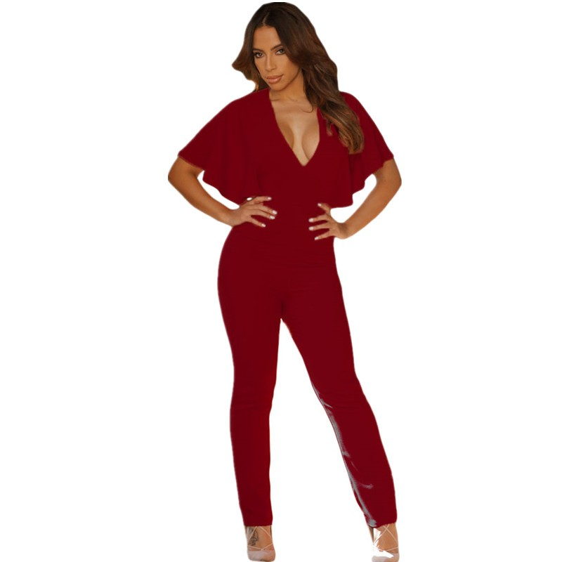 Wine-Frill-Cape-Sleeve-Open-Back-Jumpsuit-LC64032-3