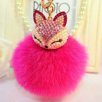 Cristal Winter Plush Fox Fur Ball Keychain