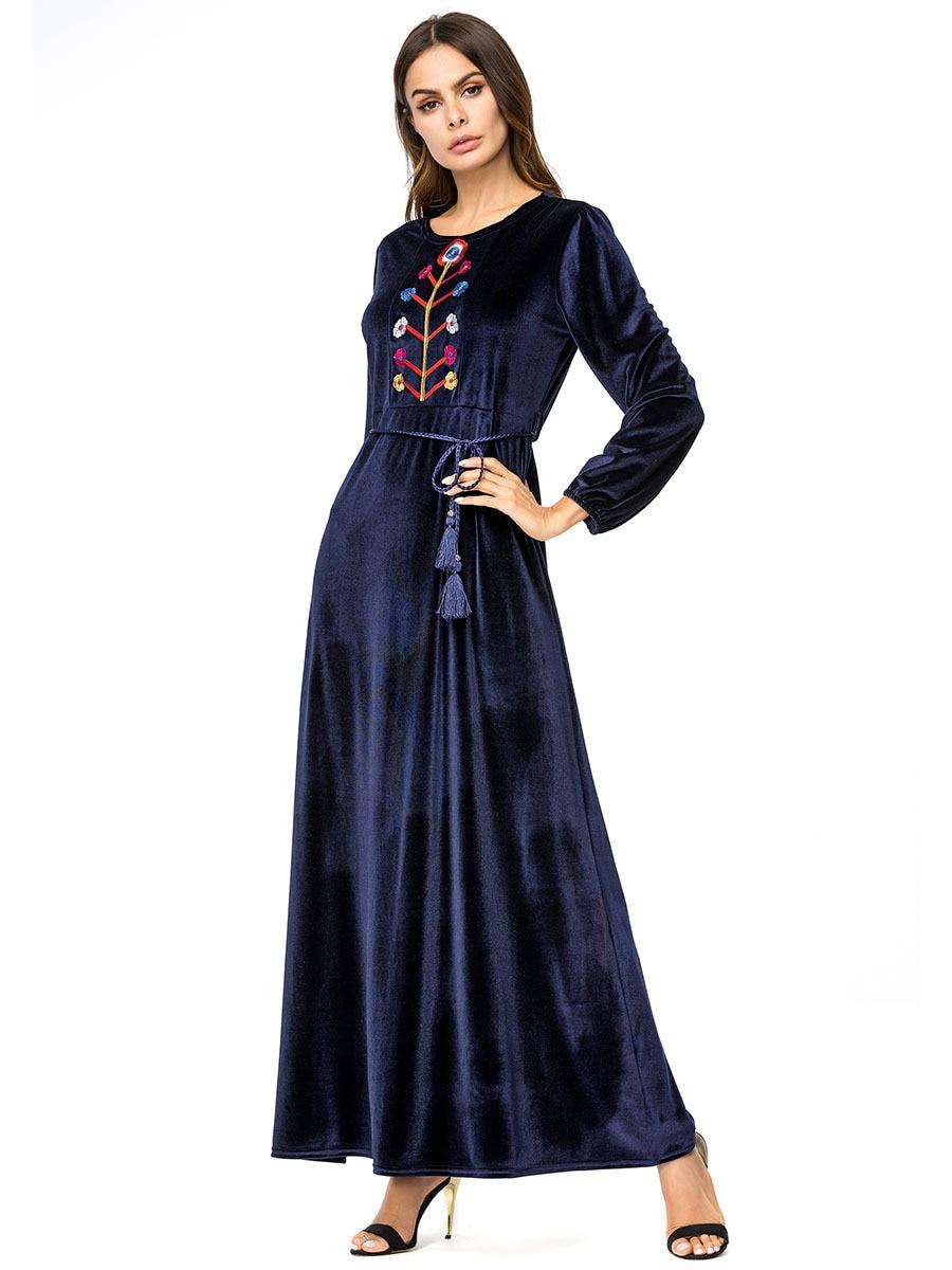 Casual Flowers Embroidery Robe Turkish Fashion Abaya Dress Halalcitymart