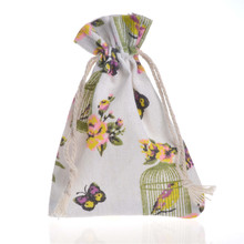 50 Pcs/Lot 10x14cm Print Drawstring Cotton Recycable Jewelry Candy Gift Packing Pouches & Bags Organizer Bag Pouch