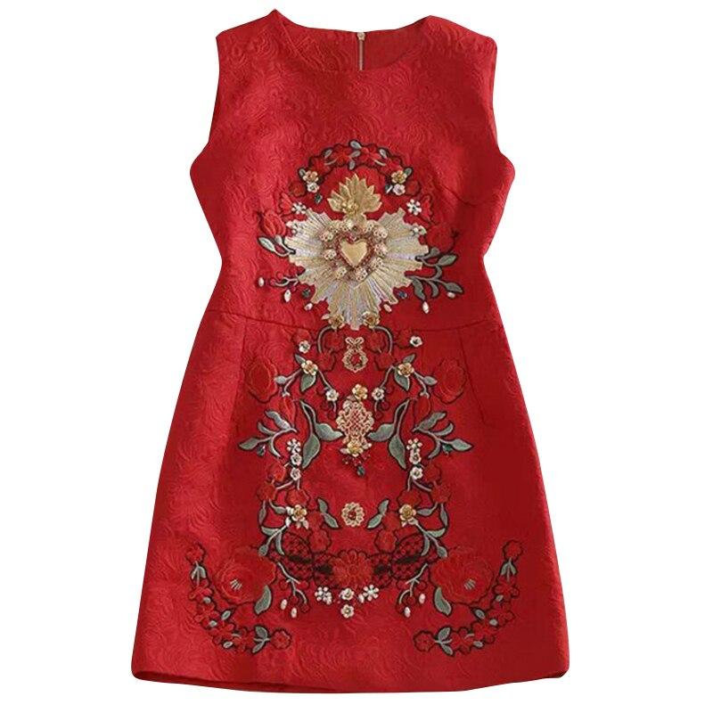 Designer Runway Dress High Quality 2018 Women Sleeveless O Neck Embroidery Beading Mini Dresses Vestidos SAD243N