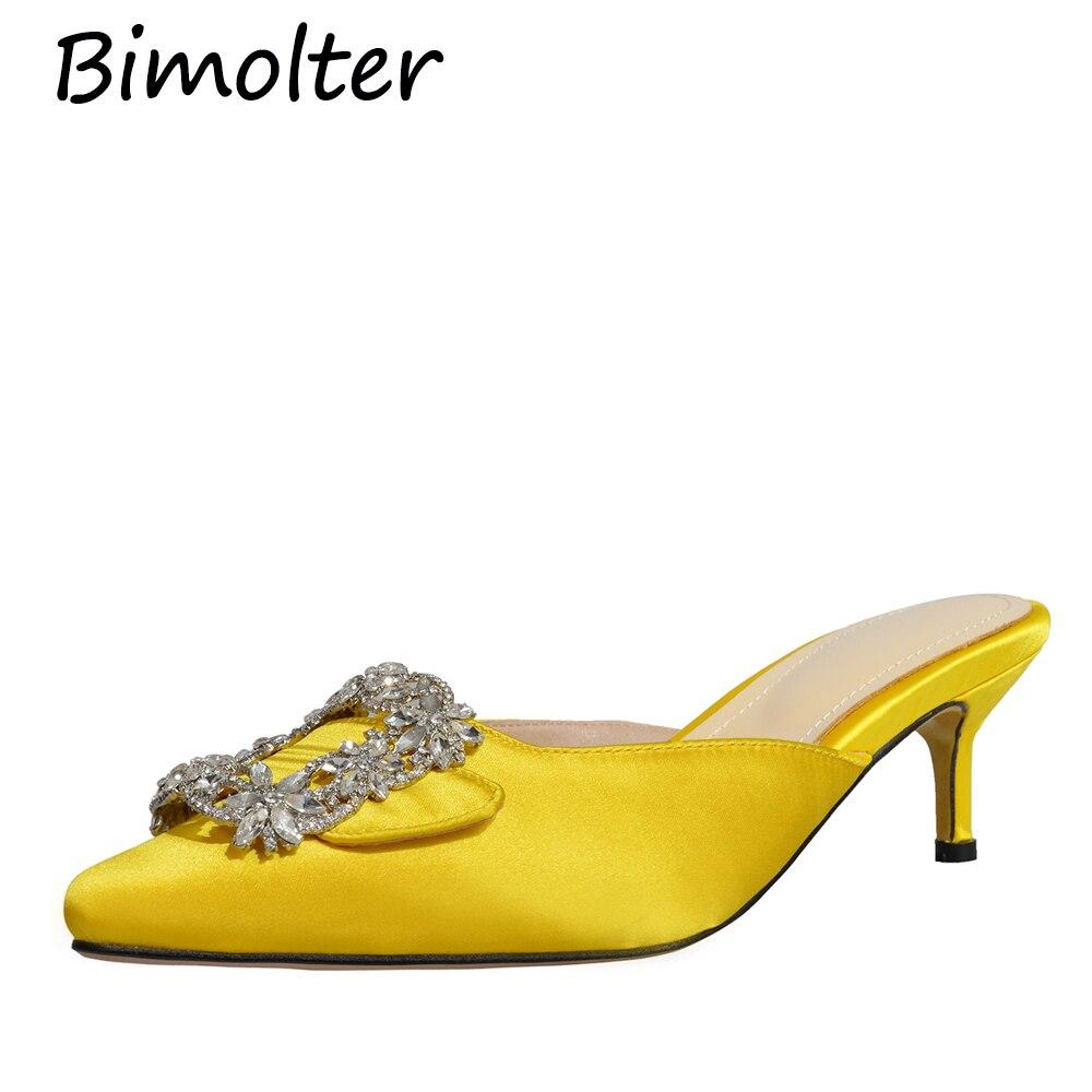 Printemps D'été Mules Bout Hauts De Talons Parti Chaussures Bal Nb086 Mariage Pointu Femmes yellow vert Femme Bimolter Sexy Noir apricot Pompes Strass dshCtQxr