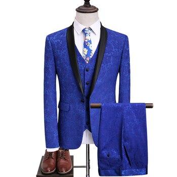 2020 Men floral Suits Wedding Groom Suits +Pant+vest 3 pieces Designs Royal Blue Tuxedos Shawl Lapel Best Man Blazer suits set