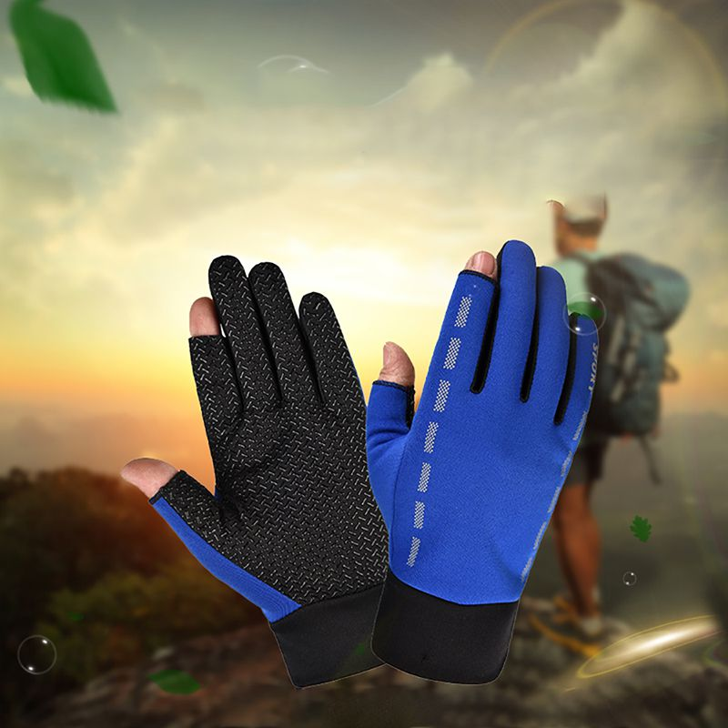 1 Pair Cycling Gloves 2 Cut Elastic Thermal Anti-slip Protective Glove Accessories For Fishing image