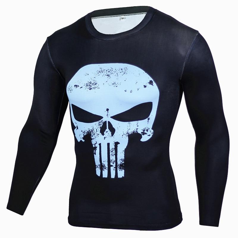 2017 Fashion Superhero Anime T Shirts Punisher Superman T Shirt Men Fitness Compression Shirt Tights Crossfit