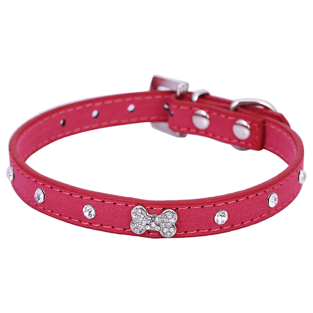 bc64516e0b8ac Bling Rinestone Bone Diamond Pet Puppy Collar Velvert Collar Black Red BlUE  Chihuahua Small Dog Grooming Product Free Shipping