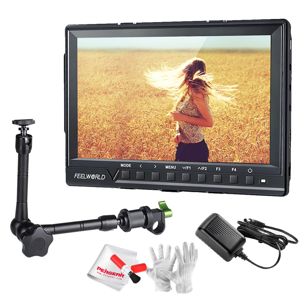 Feelworld FW760 Full HD 1920x1280 7 inch Camera Video IPS Filed Monitor HDMI Peaking Focus Assist w/ Power Adapter + Magic Arm