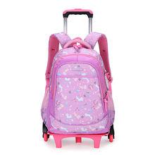 Детские школьные ранцы на колесиках рюкзак для девочек с тележкой