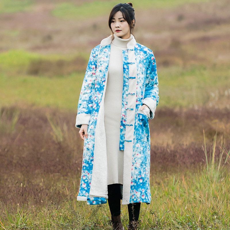 Ciel Long Femmes Pardessus Polaire Pu Manteau Parkas Style D'hiver Unique Femelle National Poitrine Impression Dames Survêtement Laineux xwYSawAq