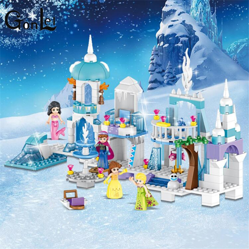(GonLeI)4 in 1 Princess Mermaid Elsa Anna Ice Castle Building Blocks Sets Kids toys Compatible Friends 37024 for girl compatible with lego girl friends kids lele 37008 516pcs blocks anna and the princes castle building blocks toys for children