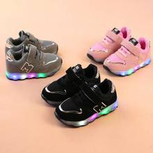 Toddler Kids Mesh Breathable Colorful LED Light Up Shoes Boys Girls Baby Luminous Sneakers Child Comfortable Sport Trainers(China)