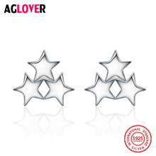 AGLOVER 925 Sterling Silver Three Stars Stud Earrings 2018 Valentines Day Gift Women/Lover New Jewelry Earring