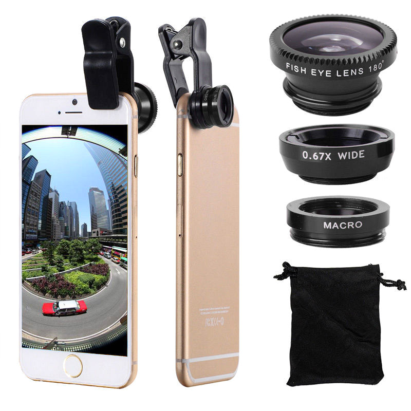 Fisheye Lens 3 In 1 Mobile Phone Clip Lenses Fish Eye Wide Angle Macro Camera Lens for iPhone Samsung Xiaomi Huawei Lenovo