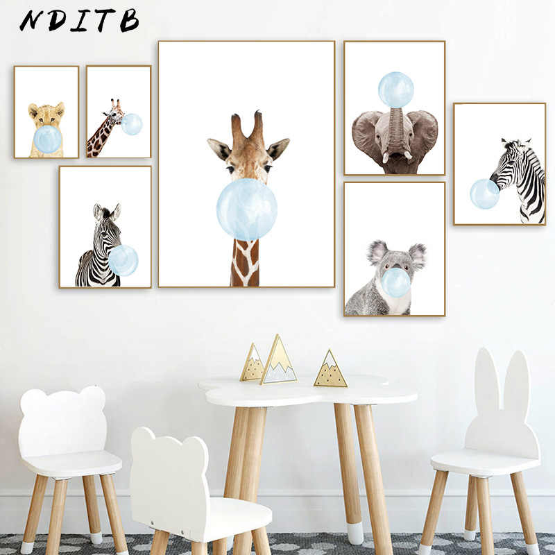Baby Animal Blue Bubble Poster Nursery Canvas Wall Art Print Zebra Giraffe Painting Nordic Kids Decoration Picture Bedroom Decor