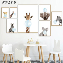 Baby Animal Blue Bubble Poster Nursery Canvas Wall Art Print Zebra Giraffe Painting Nordic Kids Decoration Picture Bedroom Decor
