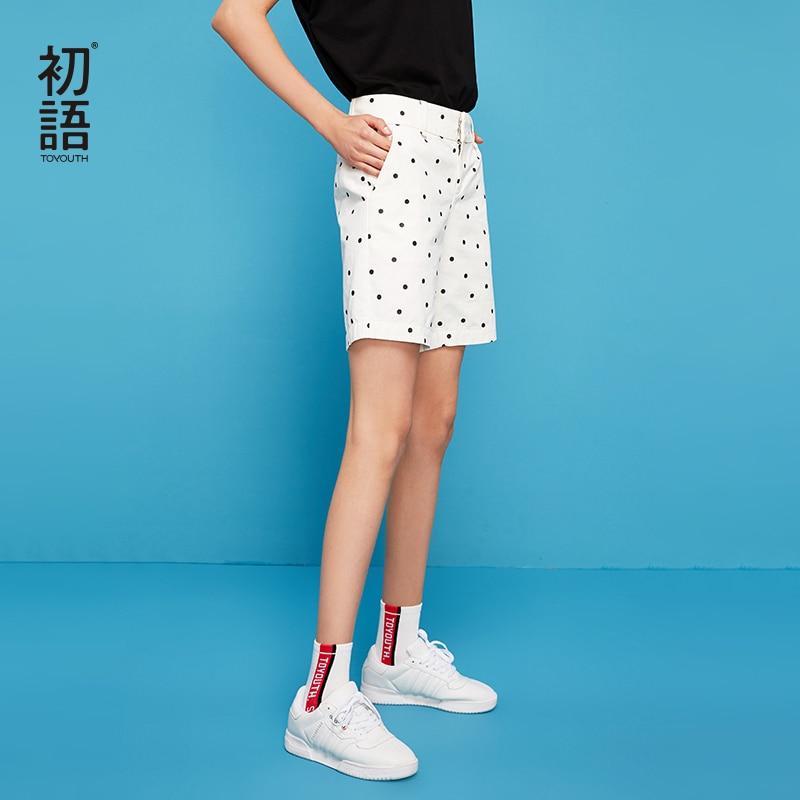 Toyouth Casual Cotton   Shorts   Women Casual Cotton   Shorts   Women Vintage Chic Polka Dot   Shorts   Ladies   Short   Feminino High Waist