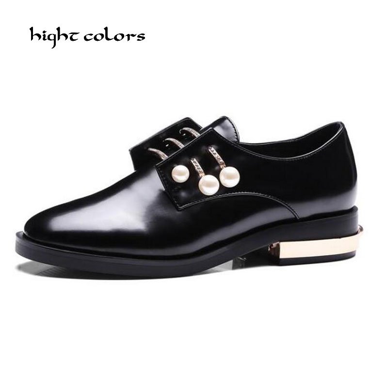 White Oxfords Brogue Women Shoes Fashion Patent Leather Platform Casual Shoes Round Toe Flats Lace Up Plus Size 40 41 42 43 D10 цены онлайн