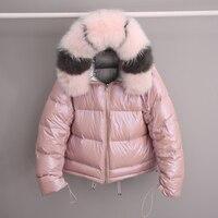 Real Natural Fox Fur 2019 Women Double Sided Silver Golden Duck Down Coat Winter Jacket Women Waterproof Hooded Thick Warm Parka