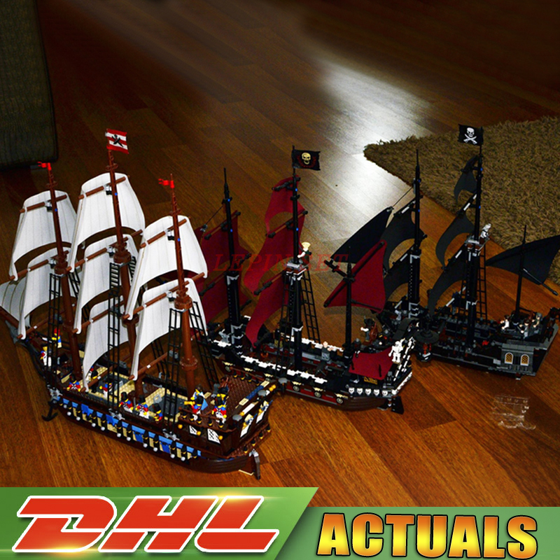 LEPIN 16006 Black Pearl Ship + 16009 Queen Anne's revenge Pirates Series +22001 Imperial Warships Toys Clone 10210 4184 4195 2018 dhl lepin 16006 pirates caribbean ship the black pearl 16009 queen anne s revenge pirate ship building blocks set