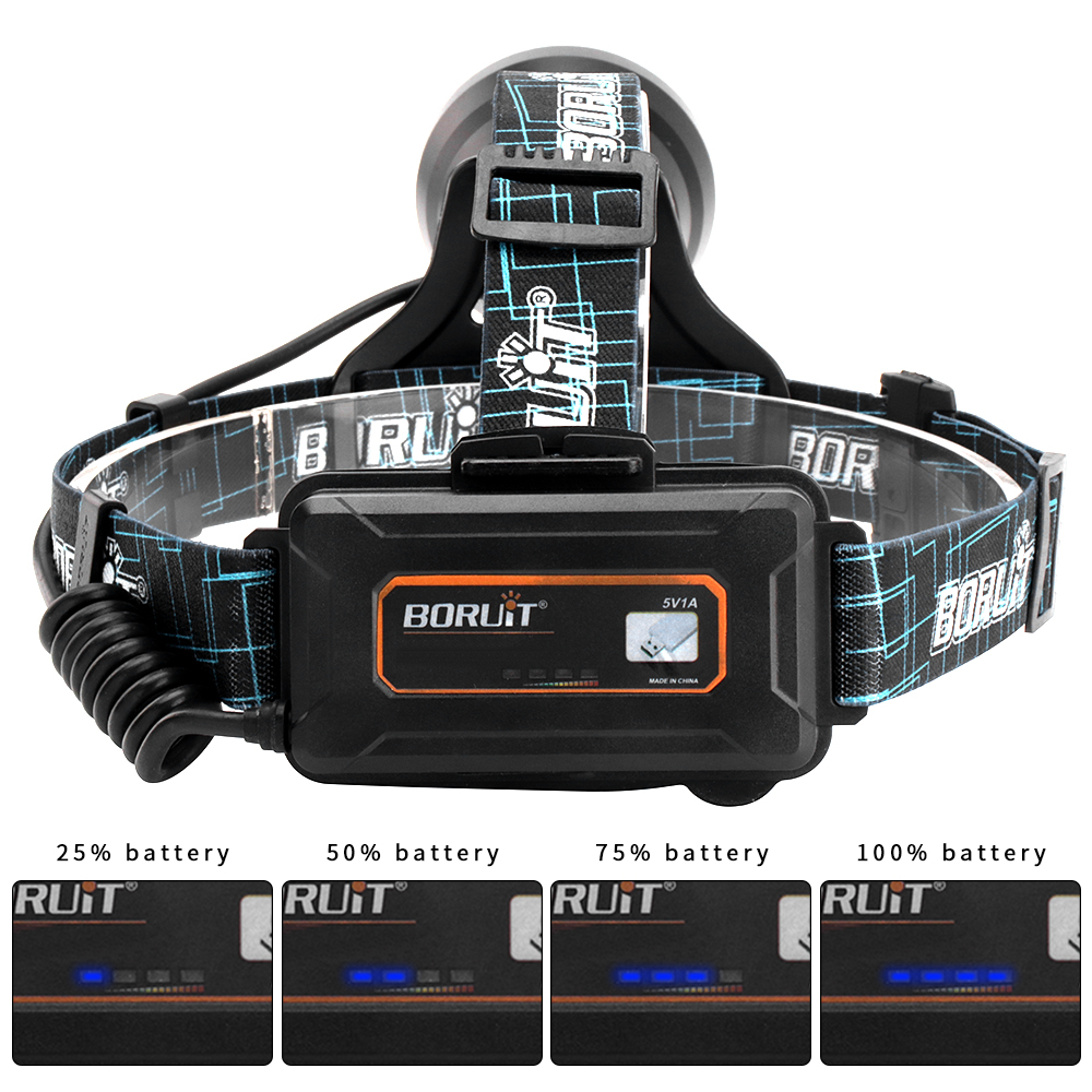 Image 3 - BORUIT B10 XM L2 LED Headlamp 3 Mode 6000LM Headlight Micro USB Rechargeable Head Torch Camping Hunting Waterproof Flashlight-in Headlamps from Lights & Lighting