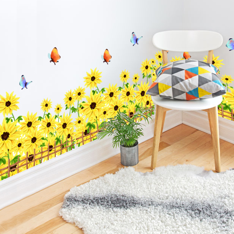 Waterproof African Daisy Baseboard Wall Sticker PVC Material Creative DIY Flower Home Decor Decals for Living Rooms Decoration